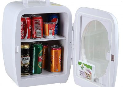 SMETA 12V Portable Compact Car Vehicle Refrigerator Personal Fridge Mini Can Beverage Milk Cooler Food Warmer for Travel Camping,15L,White_2