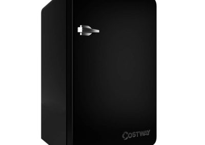 COSTWAY Compact Refrigerator, Single Door 3.2 cu. ft. Small Under Counter Mini Refrigerator Fridge Freezer Cooler Unit with Handle for Dorm, Office, Apartment (Black)