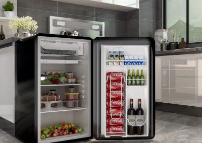COSTWAY Compact Refrigerator, Single Door 3.2 cu. ft. Small Under Counter Mini Refrigerator Fridge Freezer Cooler Unit with Handle for Dorm, Office, Apartment (Black)_2