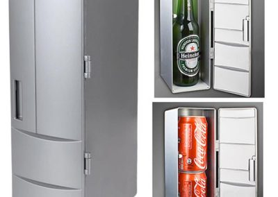 DealStock Portable Practical Mini USB Fridge Office Desktop PC Car Refrigerator Freezer Beverage Can Drink Cooler Plug & Play Silver