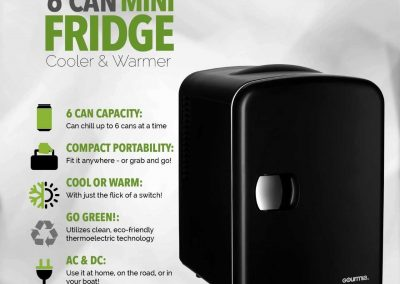 Gourmia GMF600 Thermoelectric Mini Fridge Cooler and Warmer - 4 Liter-6 Can - For Home,Office, Car, Dorm or Boat - Compact and Portable - AC and DC Power Cords - Black_2