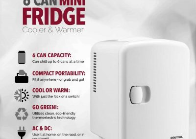 Gourmia GMF600 Thermoelectric Mini Fridge Cooler and Warmer - 4 Liter- 6 Can - For Home,Office, Car, Dorm or Boat - Compact and Portable - AC and DC Power Cords - White_2