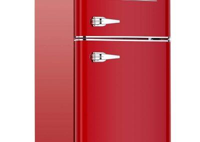 KUPPET Retro Mini Refrigerator 2-Door Compact Refrigerator for Dorm, Garage, Camper, Basement or Office, 3.2 Cu.Ft, Red