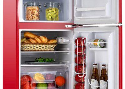 KUPPET Retro Mini Refrigerator 2-Door Compact Refrigerator for Dorm, Garage, Camper, Basement or Office, 3.2 Cu.Ft, Red_2