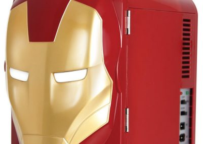 Marvel Ironman Thermo-Electric Mini Fridge Cooler, Red-Gold, 4 L