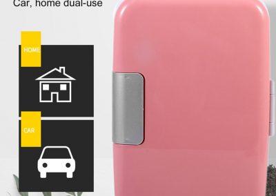 Simoner Portable Car Mini Fridge, Small Refrigerator Cooler and Warmer with 4L Enough Capacity, No Need for Refrigerants, PinkandWhite_2