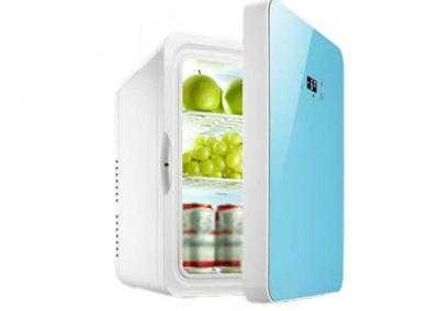 YNWJ Mini-Fridge Electric Cool Box 12V-110-240V -22L- Car Mini Refrigerators Camping Fridge for Car and Home,22L Blue-Dual Core Digital Display