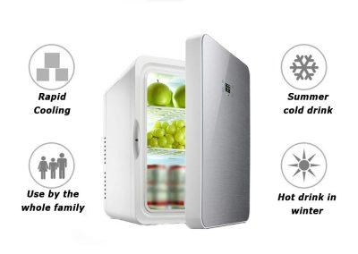 YNWJ Mini-Fridge Electric Cool Box 12V-110-240V -22L- Car Mini Refrigerators Camping Fridge for Car and Home,22L Blue-Dual Core Digital Display_2